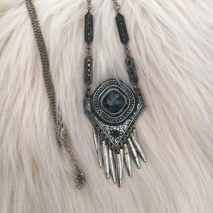 Long Amulet Silver Necklace